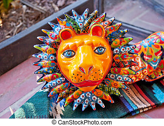 Mexican Colorful Souvenir Ceramic Lion San Diego Calfornia -...