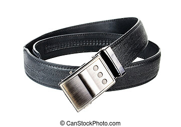 Leather belt with metal buckle. Photo close-up isolated on...