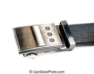 Leather belt with metal buckle Photo close-up isolated on...