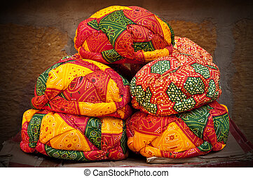Colorful Rajasthani turbans - Beautiful decorated colorful...