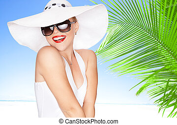 sunglasses - portrait of young beautiful woman in hat and...