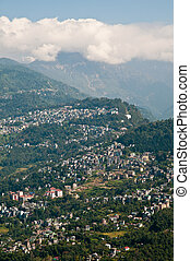 Gangtok city view - Bird's eye view of the Himalayan city of...