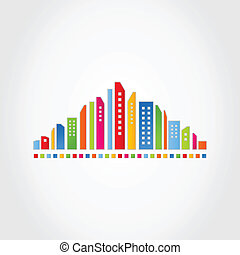 Abstract city - Modern city on a grey background A vector...