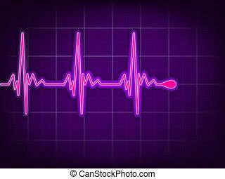 Heart cardiogram on it deep purple. EPS 8