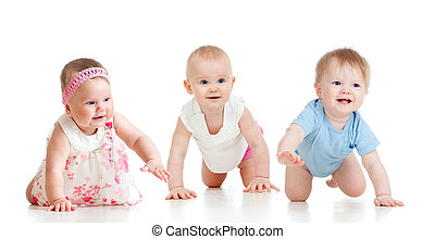 Funny babies go down on all fours Competition concept -...