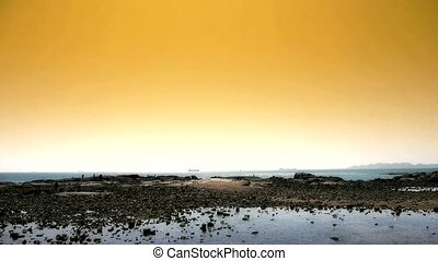 Panoramic of beach & reef Ebb,Sunset,dusk.