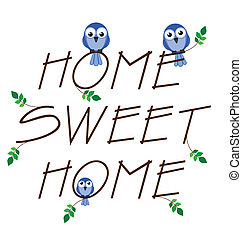 Home sweet home twig text isolated on white background
