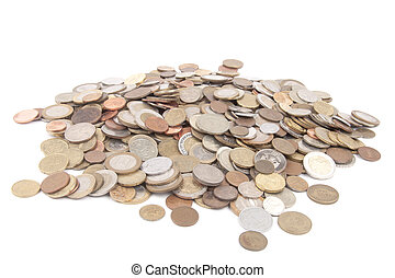 Pile of coins - isolated on white background