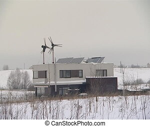 alternative energy use - wind energy generator and solar...