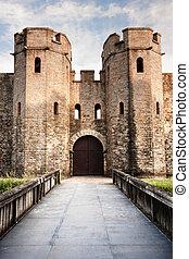 cardiff, 中世紀, 城堡, 橋梁, 藍色, 天空