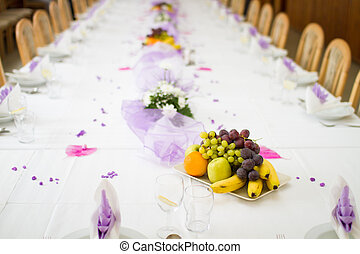Wedding or reception dinner table with fruits