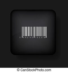Vector bar code icon on black. Eps10