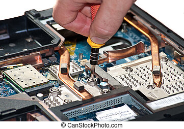 Laptop repair. The specialist conducts repairs laptop...
