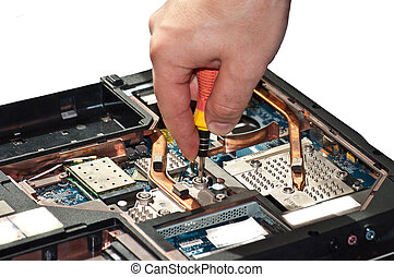 Laptop repair The specialist conducts repairs laptop...