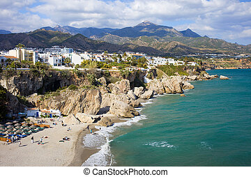 Nerja Town on Costa del Sol in Spain - Scenic resort town of...