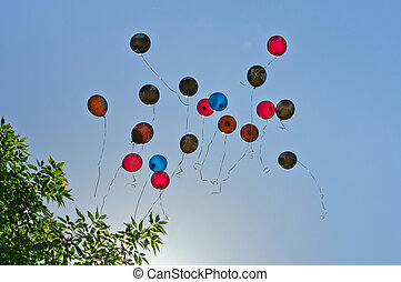 Many balloons fly into the blue sky