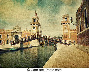 Old bastille in Venice. Old style picture
