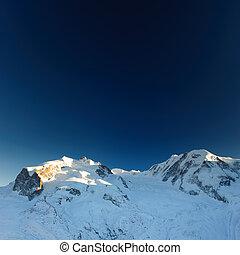 Monte Rosa and Lyskamm from Gronergrat in winter. Zermatt, Switzerland