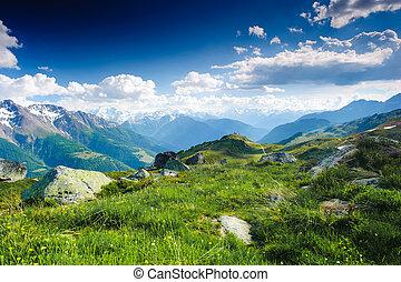 mountain panorama from fiescheralp and bettmeralp, wallis,...