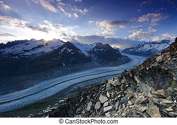 Panorama of aletsch glacier at sunset, view from bettmeralp,...