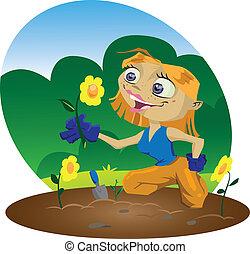 Gardener - A very happy cartoon gardener inspects her...