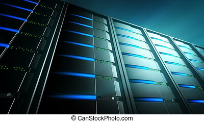 Servers Background 2 (Loop) - Network servers with blinking...