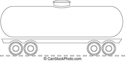 Vector Oil tank - contour outline illustration