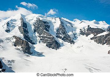 Piz Palu with Moteratsch glacier. View from Diavolezza,...