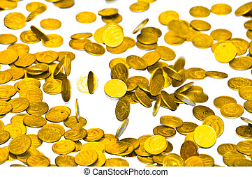 Coins fall on the table. Coins of the Soviet Union