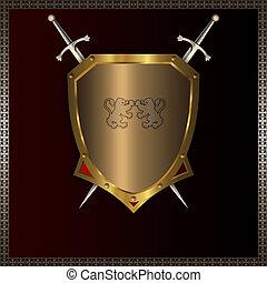 dourado, escudo, espadas