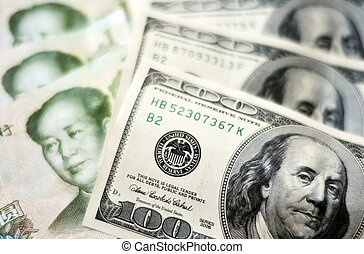 Chinese and American Money - One Hundred American Dollar...