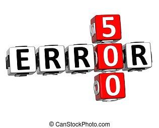 3D Error 500 Crossword on white background