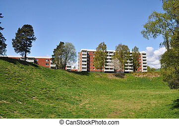Apartment building, typical architecture in a swedish suburb...