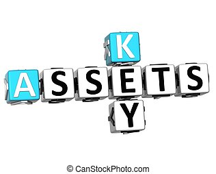 3D Assets Key Crossword on white background