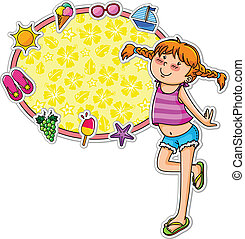 summer girl amd icons - girl in summer clothes standing next...