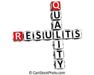 3D Quality Results Crossword on white background