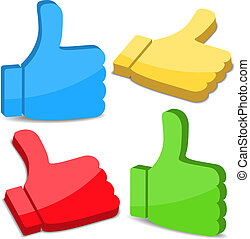 3D Thumbs Up Icons, vector eps10 illustration