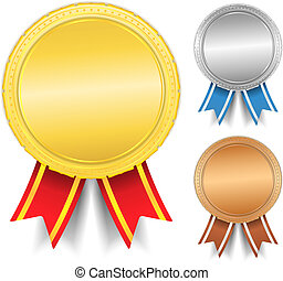 Golden, silver and bronze medals, vector eps10 illustration