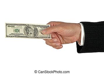 dólar, billete de banco, mano