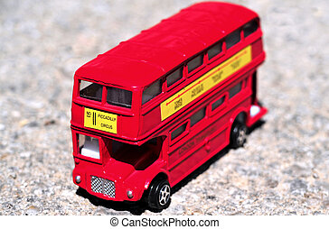London Transportation - A bright red traditional London bus...