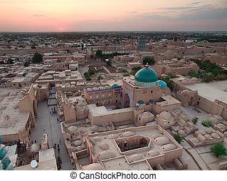 Khiva town from above - Aerial view to the Khiva town in...