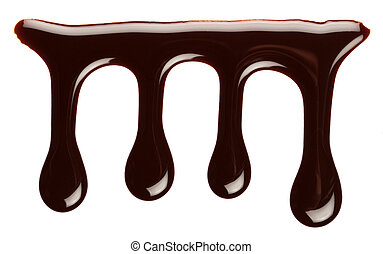 Chocolate drip - Chocolate syrup drip, isolated on white...