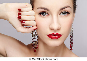 beautiful woman's manicure - close-up portrait of young...