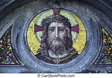 Jesus Christ mosaic decoration - Mosaic picture from small...