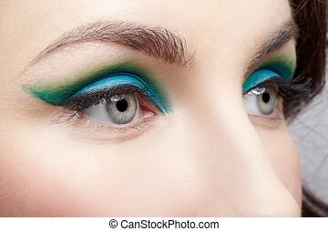 woman's eye zone makeup - close-up portrait of young...