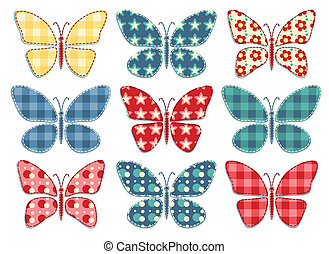 Set of patchwork butterflys 3.