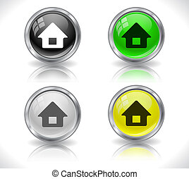 Buttons for web - Metal glass shiny buttons for web Vector...