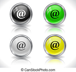Buttons for web. - Metal glass shiny buttons for web. Vector...