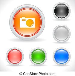 Buttons for web Vector - Color plastic buttons for web with...