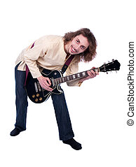Portrait of a man with guitar enjoy the music isolated on...